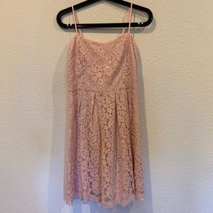 Donne Morgan blush pink lace cocktail dress